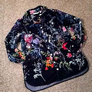 Soft surroundings velvet floral button up blouse